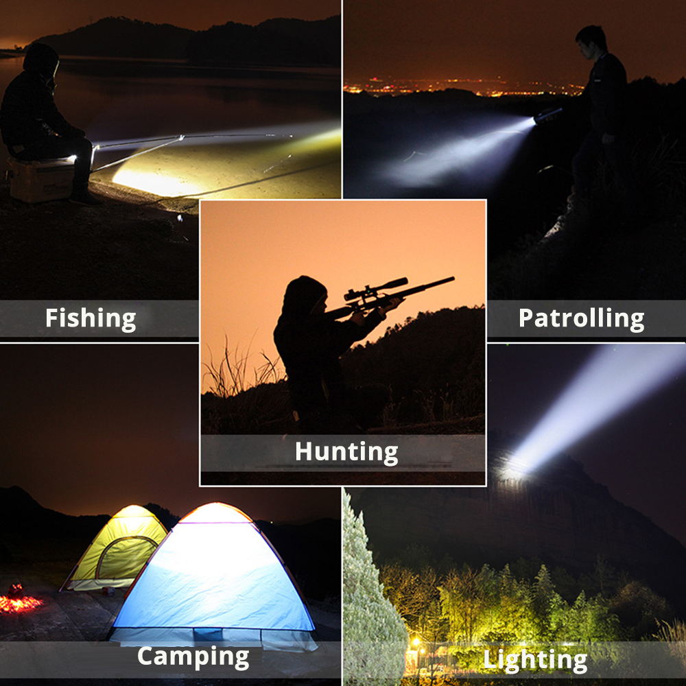 Купить с кэшбэком LED Flashlight Searchlight Built-in 4500mAh Handed Portable USB Rechargeable Torch Searchlights Multi-function Long Shots Lamp