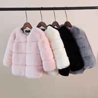 Fashion Children's Fall And Winter Artificial Fox Fur Coat Baby Girls Princess Warm Cotton Artificial Fur Long Sleeve Outwear