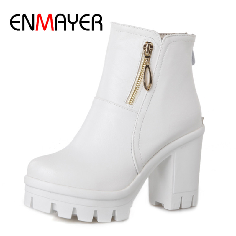 ENMAYER Women Fashion Winter Boots High Heel Zip Woman Ankel Shoes Round Toe Square Heel Super