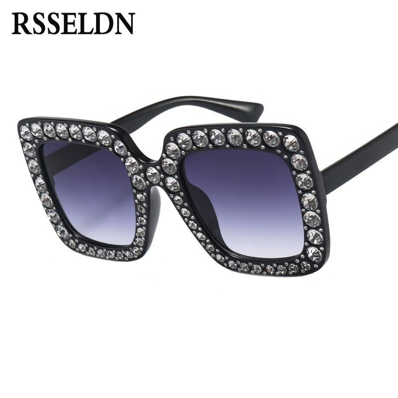 RSSELDN High Quality Rhinestone Sunglasses Women Luxury Brand Black Pink Oversized Sun glasses For Women Square Fashion Shades