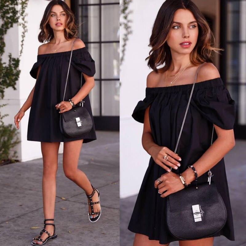 ca79bb6440 Fashion Women's Summer Casual Sleeveless Dresses Evening Party Dress Short  Mini Dresses Off Shoulder Loose Dress