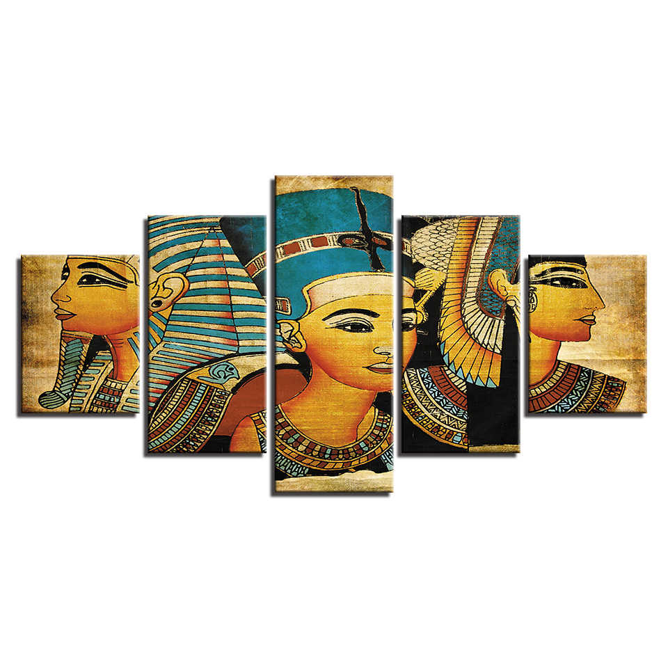 Poster Wall Modular Canvas Art Prints Picture 5 Panel Old Egyptian Girl Home Decoration Living Room Modern Paintings Artwork