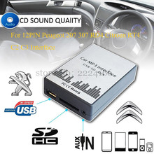 Adaptadores de CD del coche AUX USB SD MP3 reproductor de música máquina de cambio para Peugeot 207 307 Citroen C2 C3 RT4 RD4 Interfaz 12PIN, car-styling