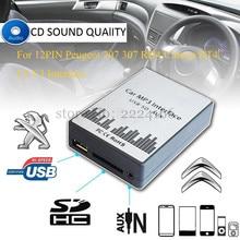 Reproductor de música MP3 del coche AUX USB SD Adaptadores de cambio de máquina de CD Para Peugeot 207 307 607 807 C2 C3 C4 Citroen RD4 RT4 12PIN interfaz