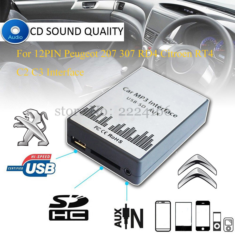 Usb Sd Aux Automobile Mp3 Music Participant Adapters Cd Machine Change For Peugeot 207 307 607 807 Rd4 Citroen Rt4 C2 C3 C4 12Pin Interface