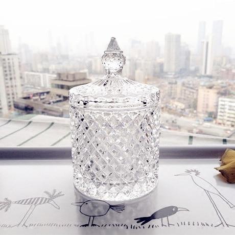 Embossed Diamond Pattern Crystal Glass Storage Tank Sugar Cylinder Sugar Bowl Jewelry Box Cotton Swab Toothpick storage box