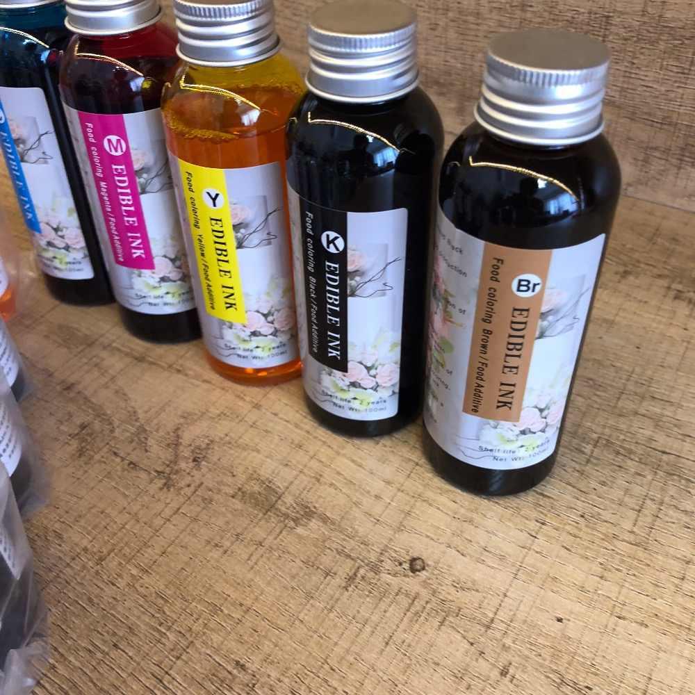 100 مللي حبر عالمي للأكل طابعة قهوة سطح المكتب طابعة طعام لون C M Y K + LC LM