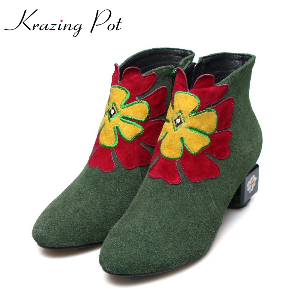 Krazing Pot cow suede fashion winter big size round toe art square high heels embroidery women flowers ankle Chelsea boots L15 krazing pot cow suede diamond bling winter shoes solid zipper square thick high heels plus size fashion fashion ankle boots l12