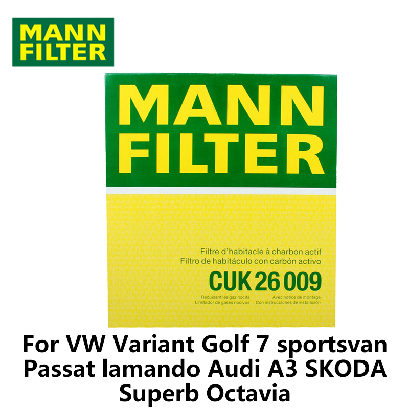 MANN FILTER Car Cabin Filter For VW Variant Golf 7 Passat lamando Audi A3 SKODA Superb Octavia CUK26009 Activated Carbon
