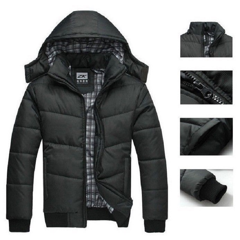 258e731c9f3 winter jacket men quilted black puffer coat warm fashion male overcoat parka  outwear polyester padded hooded down coat-in Parkas from Men s Clothing on  ...