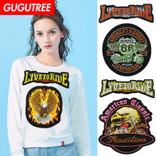 GUGUTREE embroidery big eagle skull patches letter animal badges applique for clothing XC-107