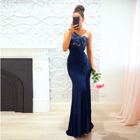 One Shoulder Lace Prom Gowns Formal Wear Sleeveless Empire Ruffles Evening Gowns Floor Length Party Dresses Custom Made