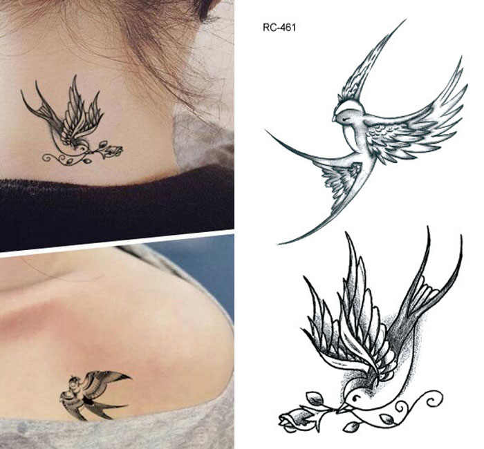 tattoo stickers birds 10.5*6cm black fashion men women Swallows tattoo stickers