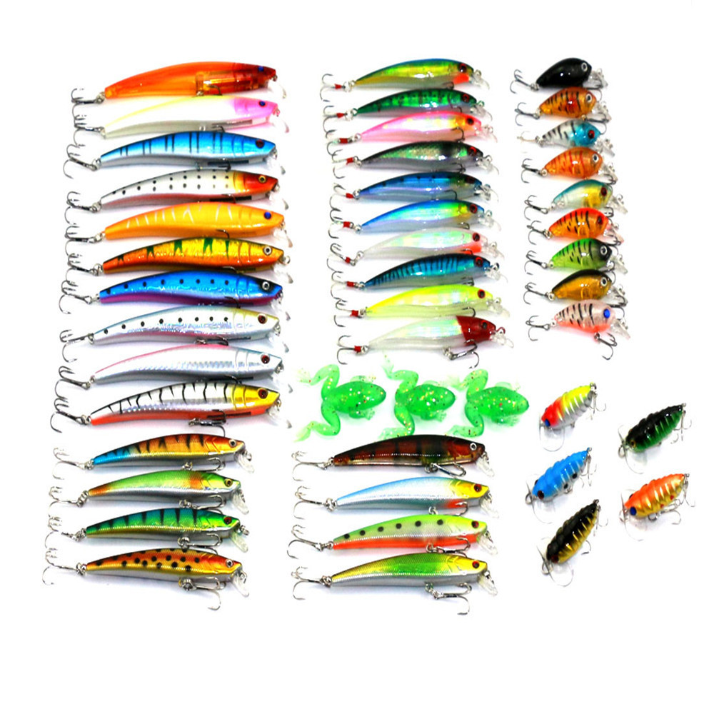 45 Pcs/Pack Mixed 6 Style Fishing Lures Set Minnow/ Crankbait /Soft Frog / Cicada Insect Lure Artificial Bait Fishing Tackle noeby insect bait hard lures crankbait treble hook 1 pcs 28mm 2g fishing tackle lure
