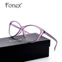 Fonex mulheres olho de gato óculos de armação tr90 optical espetáculo fêmea transparente do olho de gato do vintage óculos de armação retro cateye eyewear 5867