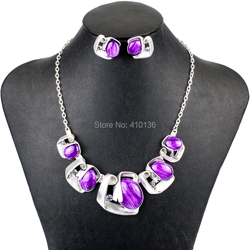 MS18063 Jewelry Sets Purple Necklace Earring Set Vintage Necklace Bridal Jewelry Party Gifts