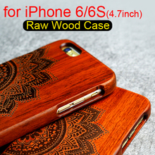 Luxury Wood Case for iPhone 6 6S Popular Retro Wood Natural Carving Design With Durable Phone Case for iPhone 6 4.7inch