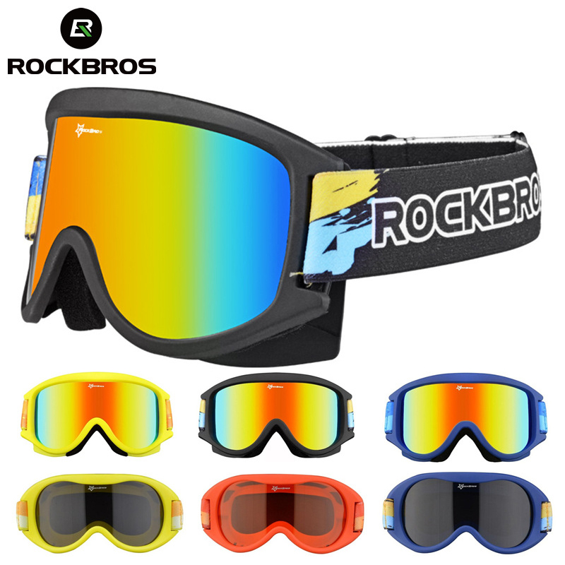 ROCKBROS Anti-Fog Ski Glasses Snow Skiing Goggles Double-Layer Snowboarding Eyewear PC Lenses TPU UV Frame Spectacles Men Women