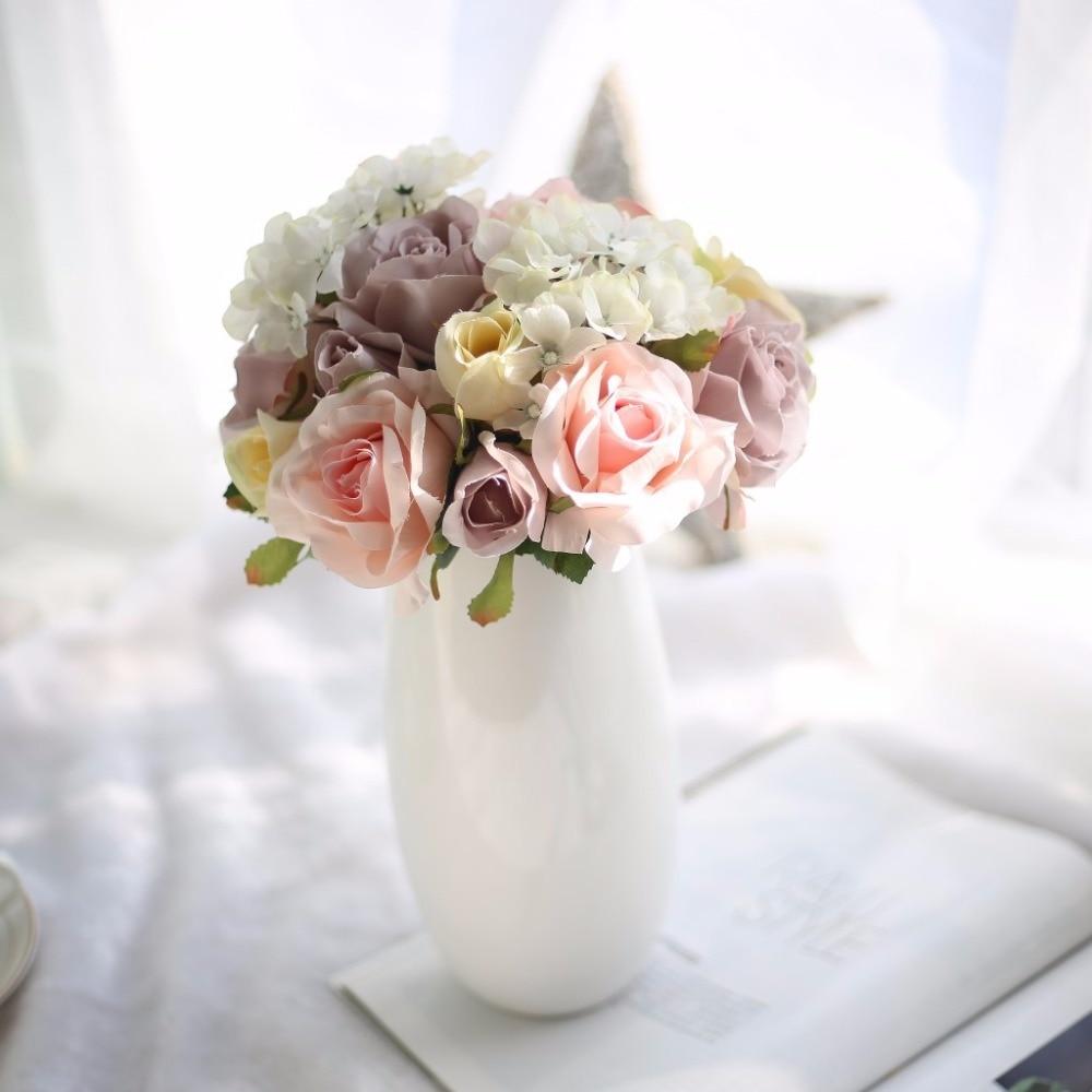 1 Pcs Silk Rose Artificial Flowers Babies Breath Branch Artificial