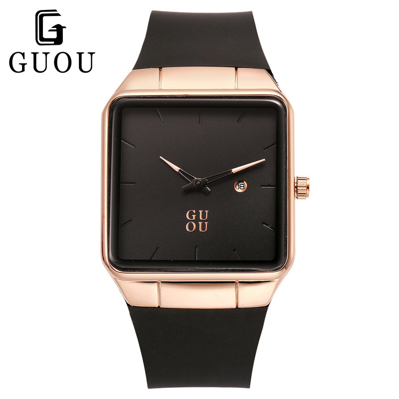 Luxury Brand Unisex Men Womens Watches Square Dial Fashion Silicone Strap Golden Case Lady Dress Quartz Watch Relogios Femininos classic luxury formal unisex dress quartz men women wrist watch rose golden metallic strap decorational subdial gift box