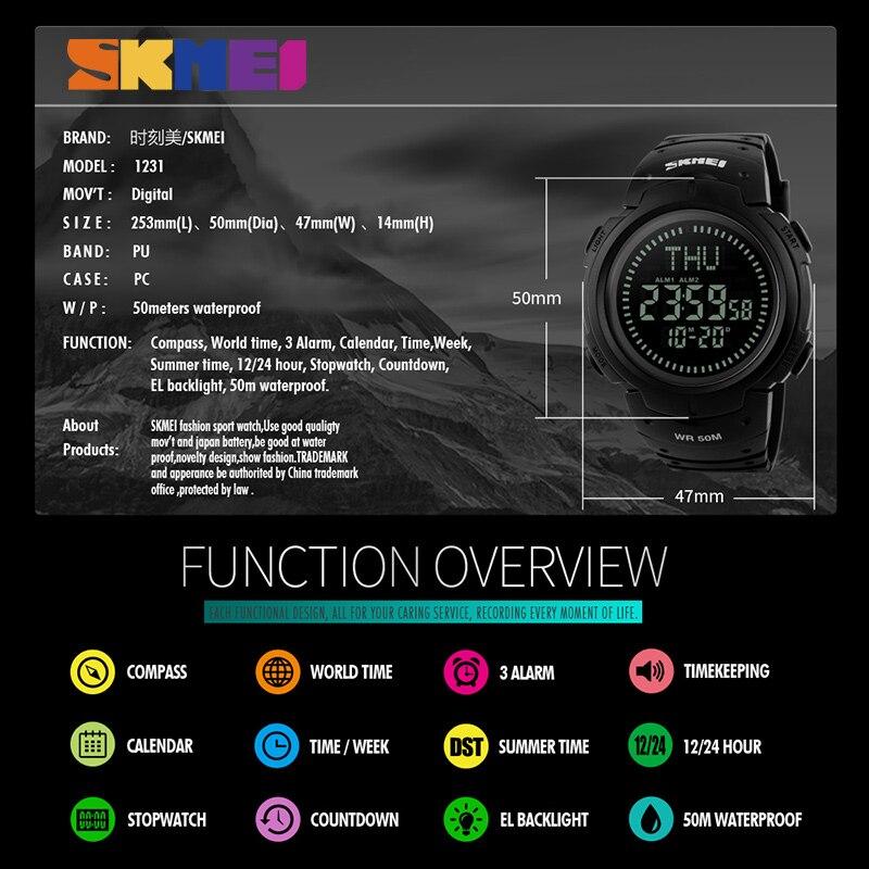 SKMEI Men Compass Sport Watch Թվային բացօթյա - Տղամարդկանց ժամացույցներ - Լուսանկար 5