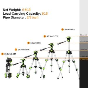 "Image 2 - Huepar Aluminum Portable Adjustable Tripod for Laser Level Camera with 3 Way Flexible Pan Head Bubble Level 1/4"" 20 Screw Mount"