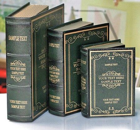 En gros 3 pièces taille grand moyen et petit style européen antique décoration simulation faux accessoires fenêtre livre boîte en bois bibliothèque
