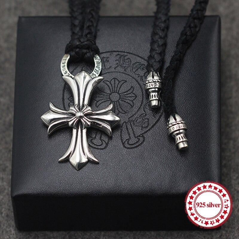 S925 colliers en argent sterling pendentifs rétro personnalité classique mode punk style peau de vache corde croix collier pendentifs cadeau