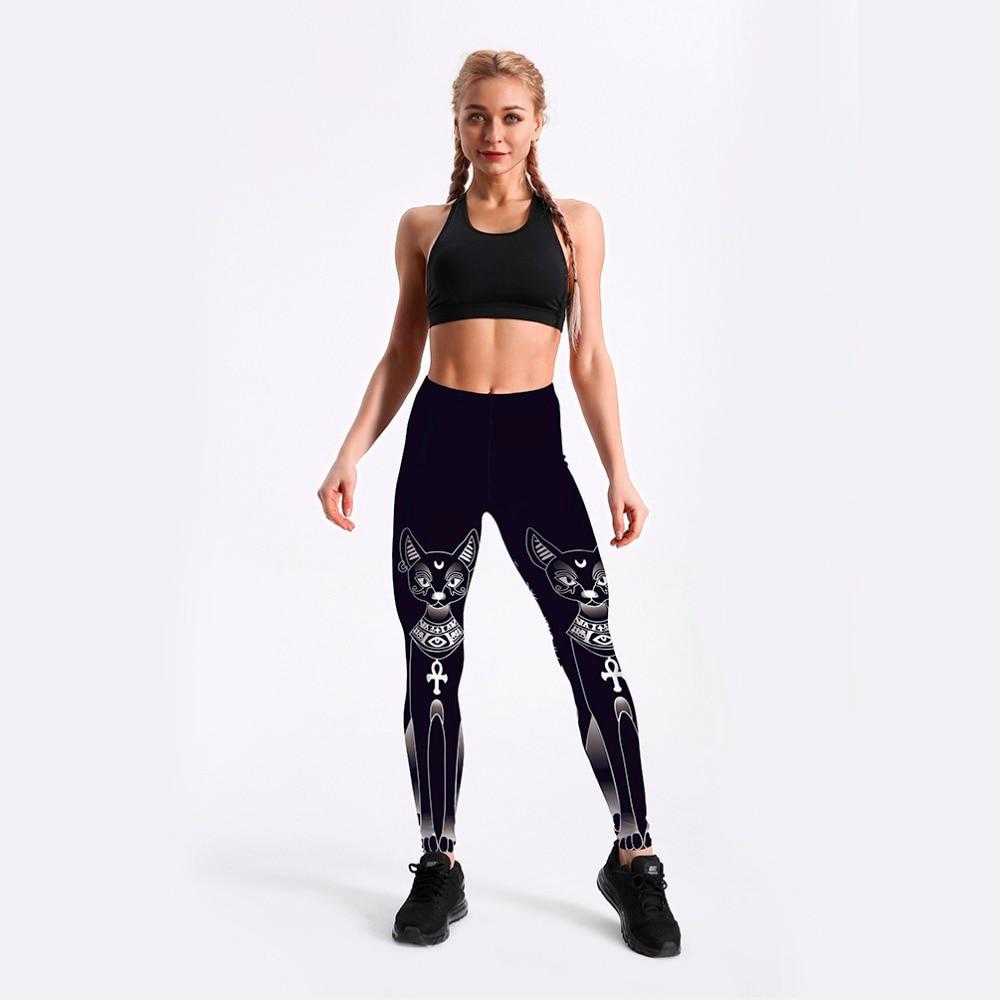 C3505 Girl Goddess Bastet Black Cat Cross Prints Elastic Slim GYM Fitness Women Sport Leggings Yoga Pants Trousers Plus Size
