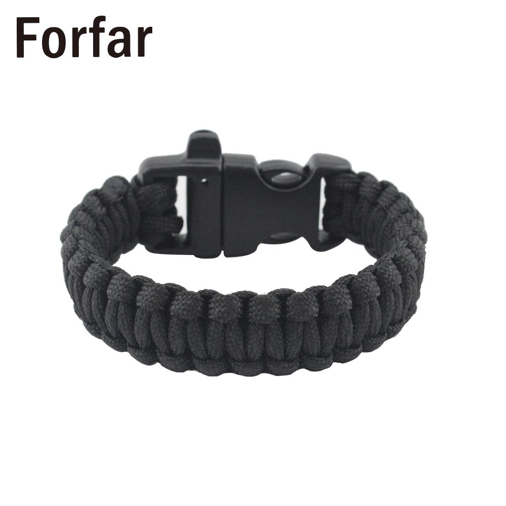 2 In 1 Black Durable Camping Bracelet Survival Bracelet Decoration Wristband Parachute Rope Living Hiking Outdoor Sports
