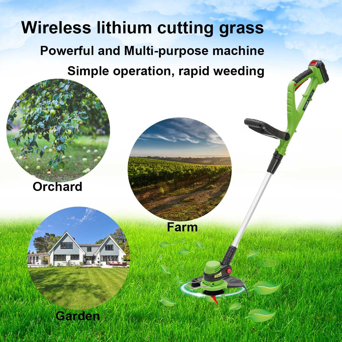 12500rpm Electric Lawn Mower Wireless Lawnmower Grass Trimmer Outdoor Retractable With Battery Charger Grass Cutter Garden Tools
