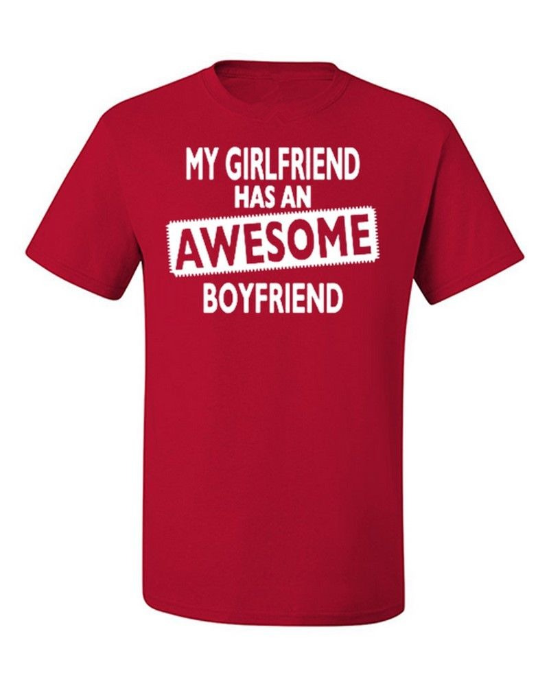 Cheap T Shirts Online Crew Neck Short My Girlfriend Has An Awesome