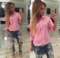 women tops and blouses 2016new fashion Long-Sleeve Pink White Plaid Shirt women Cotton Blouse Shirts chemise femme