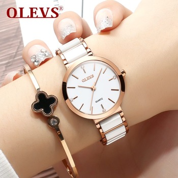 OLEVS Women Watches White Ceramic New Fashion Rhinestone Dress Ladies Watch Waterproof Quartz Watch for Woman relogio feminino olevs women watches watch men fashion luxury rhinestone dress couple watch quartz watchreloj mujer saat relogio zegarek damski