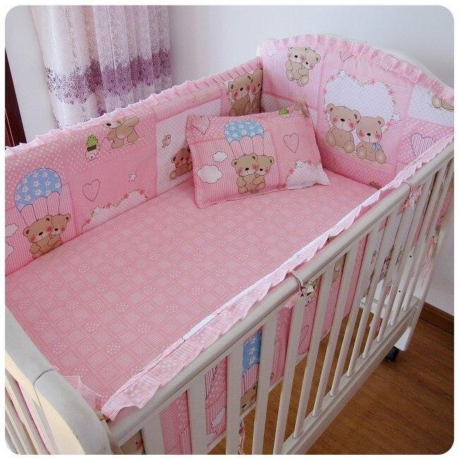 Promotion! 6PCS Pink Bear Crib Bedding Set Baby Bumper Kit Berço Baby Bedding Set 100% Cotton (bumpers+sheet+pillow Cover)