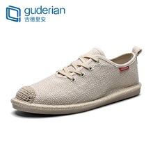 GUDERIAN New Men Fisherman Shoes Breathable Canvas Lace-Up Casual Flat Sneakers Espadrilles Calzado Hombre