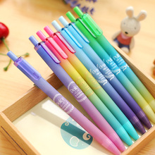 6 pcs Aurora color gel pen Elegante Pulito badge 0.5mm nib Black ink for writing signature Office School supplies CB761