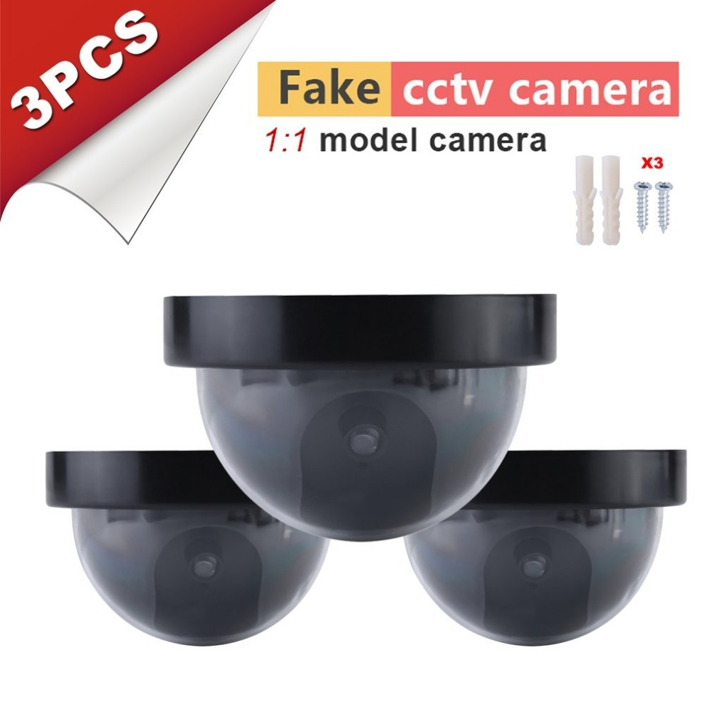 3pcs Fake Security Camer Outdoor Dome Shape Dummy Camera Surveillance Simulation Camera With Warning Flash LED Light