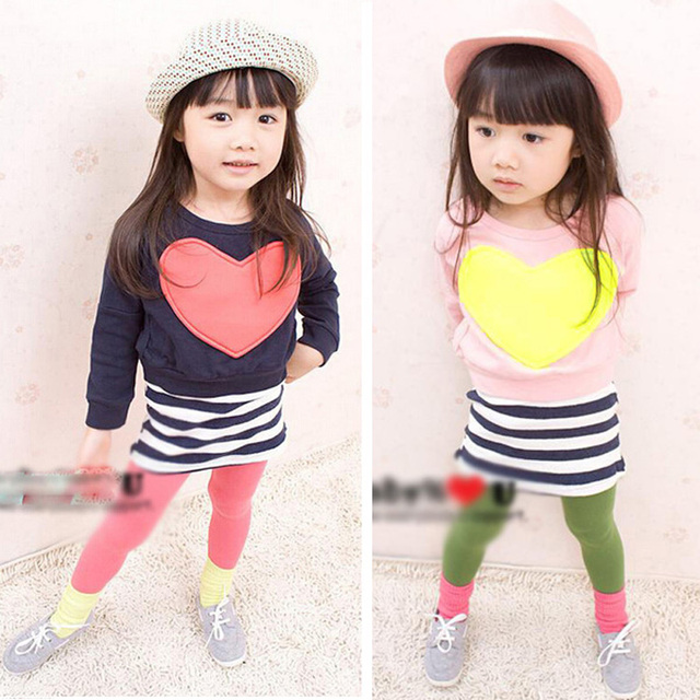 2016 Girls Kids sets Sping fashion Heart Bat shirt+Striped vest Dress 2pcs Casual set children outerwear lovely ordinary clothes