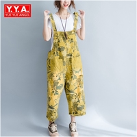 Chegada Nova europeu Moda Mulheres Denim Jeans Solto Fit Casual Bodysuits Playsuits Macacões Impresso Pockets Feminino L-XL Flor