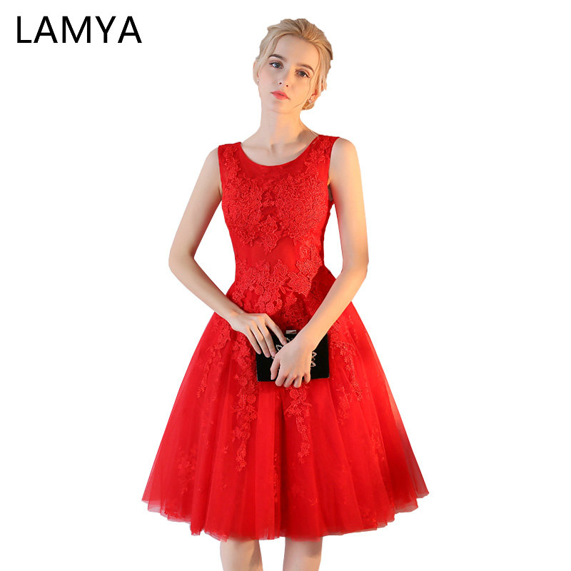 LAMYA Short Vintage Lace Prom Dresses 2019 Elegant Homecoming Dress Red Sexy vestidos de fiesta A Line Formal Evening Gown
