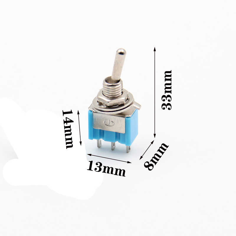 P55 מיני toggle מתג על כחול נדנדה מתג 2 עמדה 3 סיכות 2 דרך מנוף מתג 6mm ארוך שטוח ידית 2A/250V 6A/125V