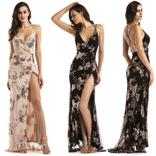06517a4275 2019 New Arrived Dress Sexy Women V Neck Maxi Sequin Halter Backless Split  Cocktail Prom Gown