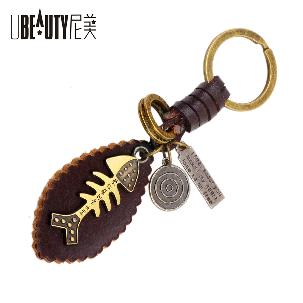UBEAUTY Alloy Fishbone Key Ring Fashion Cool Vintage Bronze Color Little Fish Keychain For Women Men Jewelry Friend Gift