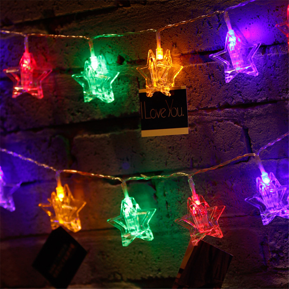 LED Christmas Lights New Year Garland Star Shape Clothespin String Fairy Lights 3/4/5M Led Lights Decoration For Christmas Tree