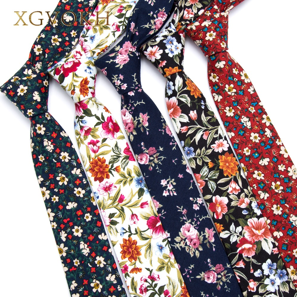 XGVOKH 100% Cotton Tie Print Stroptøj Mænd Fashion Klassisk 6cm Slank Skinny Slips Blomster Wedding Party Business Slips Bowtie