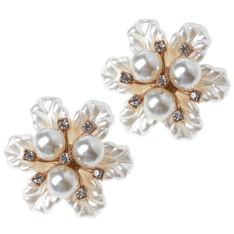 2pcs Shoe Decoration Floral Flower Faux Pearl Ornaments Clothes Charms Shoes Supplies Rhinestone Appliques pair of rhinestone floral faux pearl stud earrings