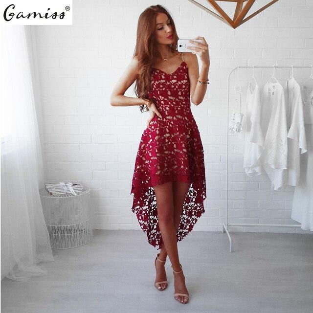 9dbf9b43bd6 Gamiss Sexy dentelle soirée robe d été femmes sans manches Mini Floral  dentelle garniture asymétrique