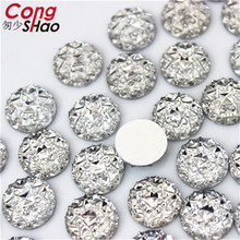 Cong Shao 50pcs Ancient gold 10mm Round stones and AB crystals flat back  Resin Rhinestone applique 683eea35953e