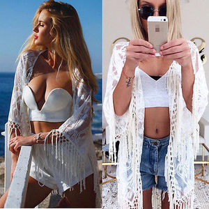 2017 Verão Novas Mulheres Rendas De Crochê Borla Biquíni Conjuntos de Tampa-Ups Praia Top Kaftan Caidigan Sombrinha Proteção Praia Blusa